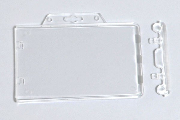 ID Badge Holder Hard Plastic Card Holders Vertical 1 Pack