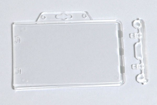 1840-6040 Clear Rigid Poly Horizontal Permanent Locking Badge Holder 50 pack