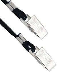 2140-6001 Black ID Neck Lanyard Round Cord w NPS Bulldog Clip On Both Ends, 100 count